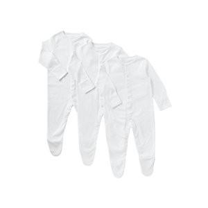John Lewis & Partners Baby Pima Cotton Sleepsuit, Pack of 3, White