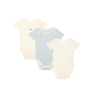 John Lewis & Partners Baby GOTS Organic Dinostars Bodysuit, Pack of 3, Blue/Multi
