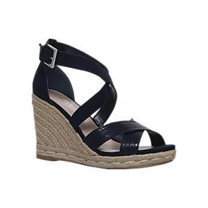 Carvela Smashing Cross Strap Wedge Heel Sandals, Navy