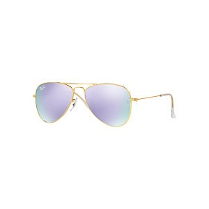 Ray-Ban Junior RJ9506S Aviator Sunglasses, Black/Mirror Blue