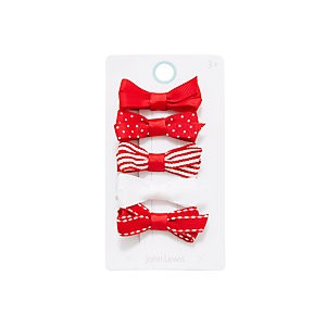 John Lewis & Partners Girls Mixed Bow Clips, Pack of 5, Red