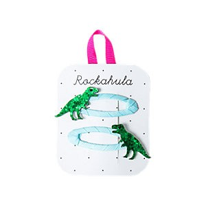 Rockahula Glitter T-Rex Dinosaur Hair Clip, Pack of 2, Green/Blue, Green