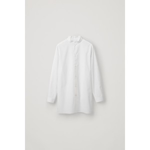 STAND-COLLAR LONG COTTON SHIRT