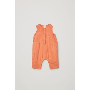 COTTON-LINEN ROMPER WITH POCKETS