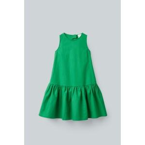 TIERED LINEN-COTTON DRESS