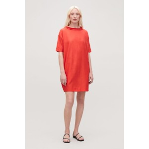 FOLDED-COLLAR DRAPED DRESS