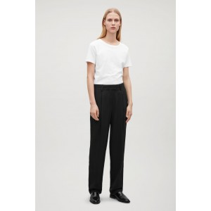 RELAXED STRAIGHT-LEG SILK TROUSERS