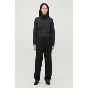 BUTTON-UP STRAIGHT-LEG TROUSERS