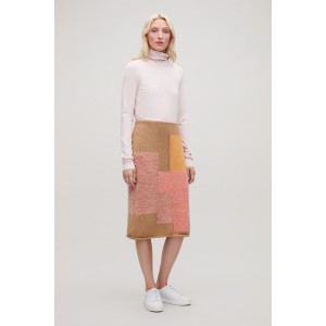 PATCHWORK WOOL PENCIL SKIRT