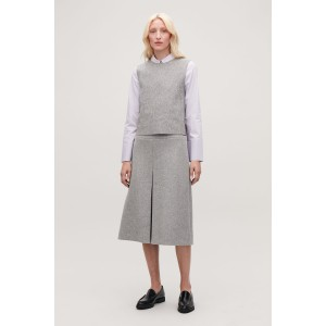 PLEAT-FRONT WOOL A-LINE SKIRT