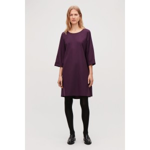 WOOL DRESS WITH TURN-UP CUFFS