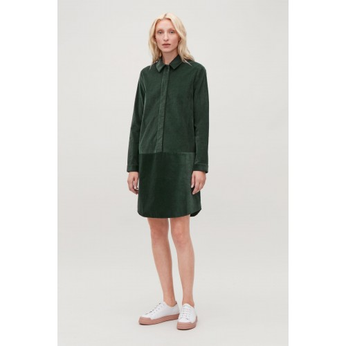 코스 A-LINE CORDUROY SHIRT DRESS