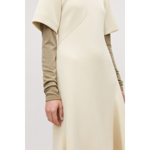PADDED A-LINE DRESS WITH SEAMS
