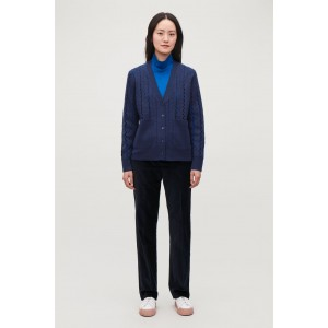 CUT-OUT BOILED WOOL CARDIGAN