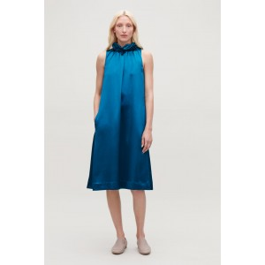 FRILL-NECK A-LINE SATIN DRESS