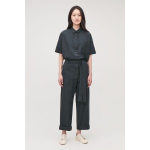 BELTED TOPSTITCHED JUMPSUIT