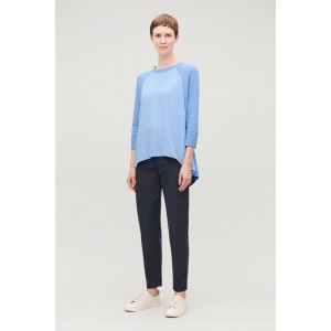 SILK-FRONT A-LINE KNIT TOP