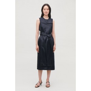 TRENCH-DETAIL SMOOTH SLEEVELESS DRESS