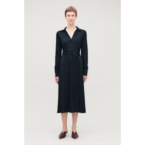 JERSEY DRESS WITH OPEN COLLAR