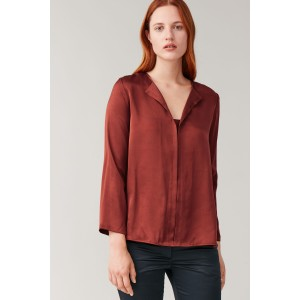 SILK OPEN-NECK BLOUSE