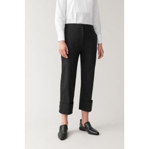 CUFFED COTTON-MIX PANTS