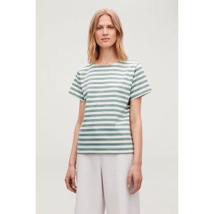 STRIPED BOAT-NECK T-SHIRT