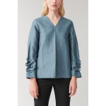 GATHERED-SLEEVED TOP