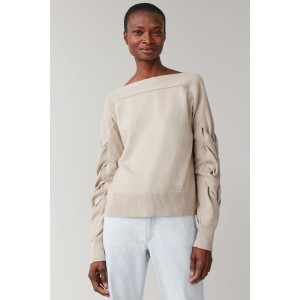 COTTON SWEATER WITH CABLE KNIT SLEEVES