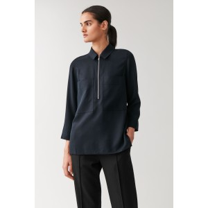 HALF-ZIP SHIRT WITH PATCH POCKETS