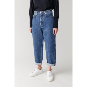HIGH-WAISTED TAPERED JEANS