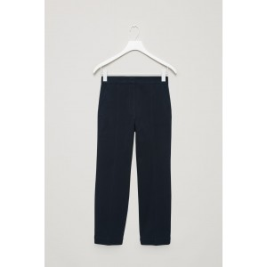 TOPSTITCHED TWILL TROUSERS
