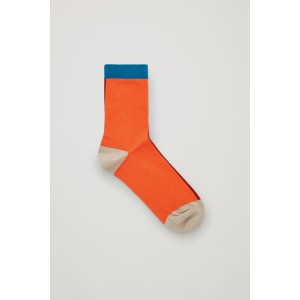 COLOUR-BLOCK COTTON SOCKS