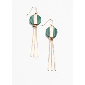 Circle Stone Hanging Earrings