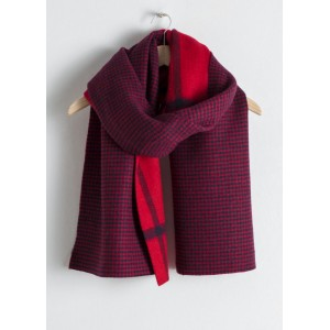 Houndstooth Plaid Wool Scarf