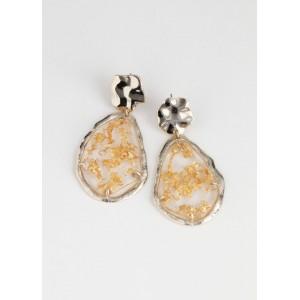 Gold Flake Hanging Earrings