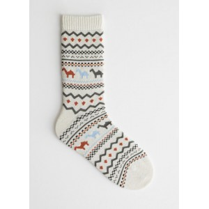Camel Print Ankle Socks