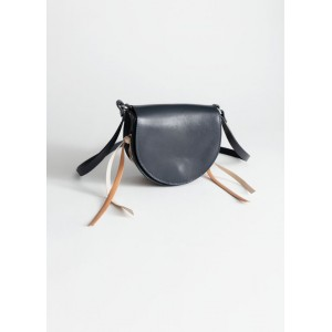 Structured Laced Leather Saddle Bag