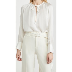 Shirred Tie Detail Blouse