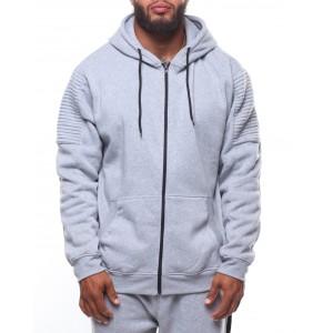 biker full zip fleece hoodie (b&t)