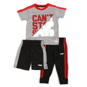 3 pc graphic tee, shorts & pants set (2t-4t)
