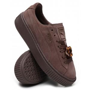 suede platform gem sneakers