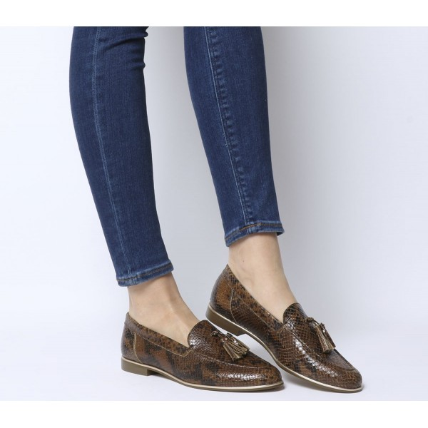 Office Retro Tassel Loafers Choc Snake Leather With Gold Rand