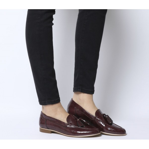 Office Retro Tassel Loafers Burgundy Snake Leather With Rose Gold Rand