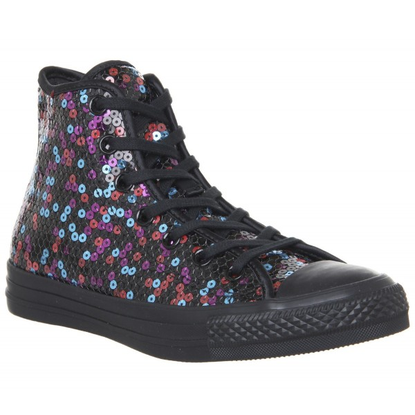 Converse Converse All Star Hi Trainers Black Blue Cherry Red Sequin