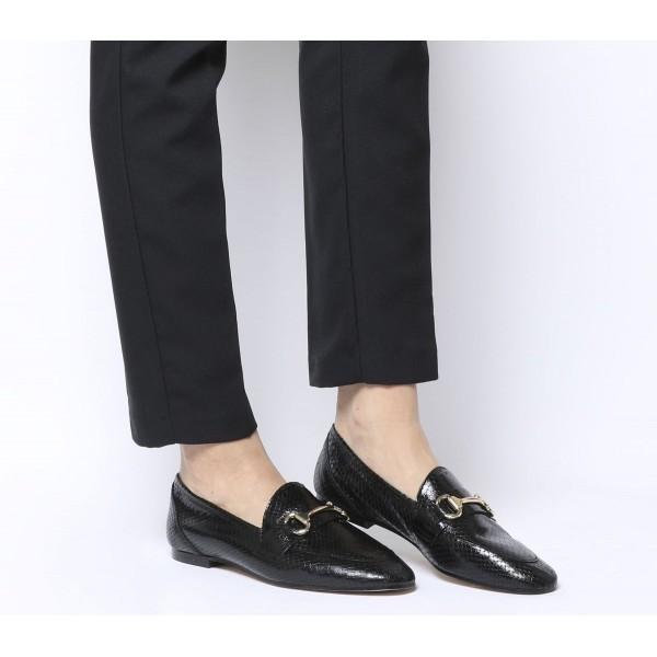 Office Destiny Trim Loafers Black Snake Leather