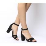Office Holborn Cross Vamp Block Heels Black With Charm