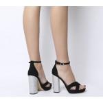 Office Hiccup Cross Vamp Platform Heels Black Diamante Heel