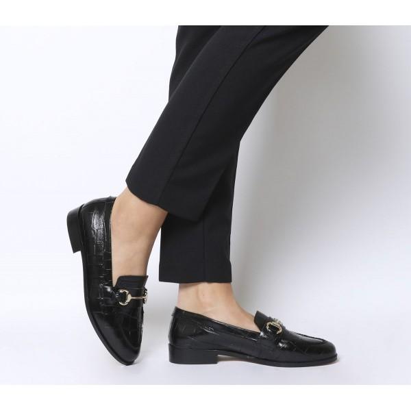 Office Fluster Loafers Black Croc Leather