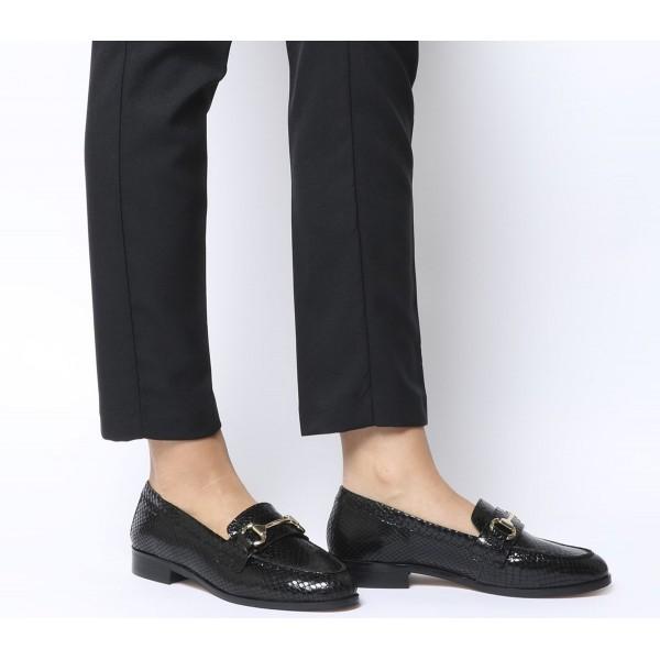 Office Fluster Loafers Black Snake Leather
