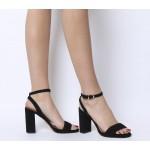 Office Hyena Platform Two Part Sandal Heels Black Suede